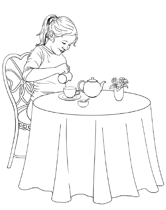 tea for one coloring page