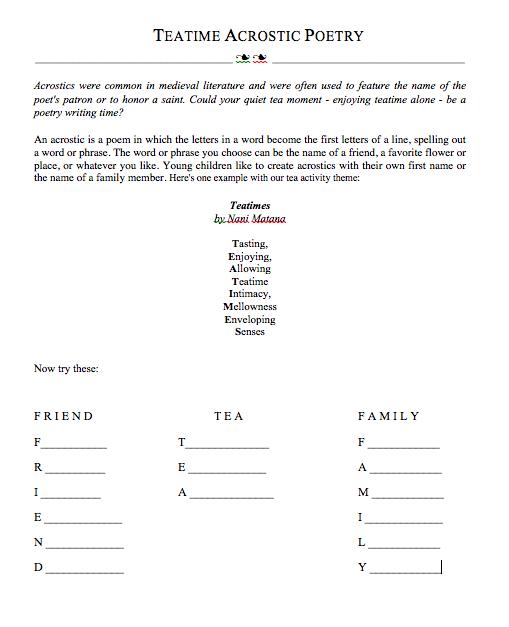 Tea Acrostic Poems International Tea Sippers Society